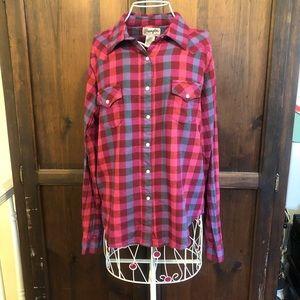 Wrangler Bright Buffalo Check Flannel Shirt Flawed